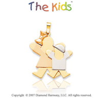 14k Tri Tone Gold Big Sister Little Brother Joy Pendant